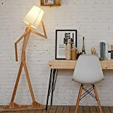 KKG® legno 1.6m originale Ffloor lampada da terra a luce in camera Varietà Character Modeling fresca ombra di lino bianco moderno per Camera da letto Soggiorno (Marrone chiaro)