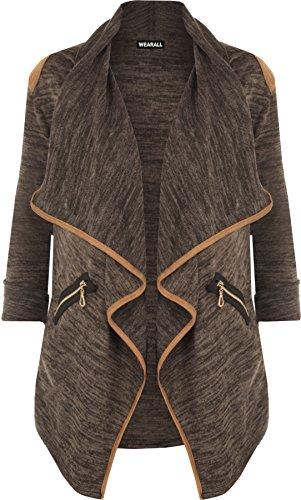 WearAll - Damen Gestrickt Geöffnet Reißverschluss Tasche Lang Hülle Schulter Top Strickjacke - Braun - 36-38 (Pullover Strickjacke Braune)