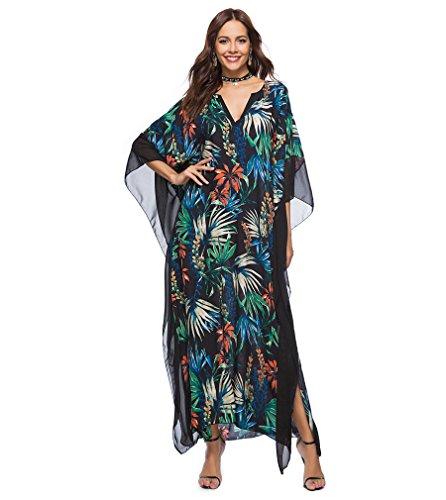 Passme vestito lungo donna estate copricostume mare spiaggia taglie forti stampato floreale scollato v maniche pispistrello caftano tunica beachwear
