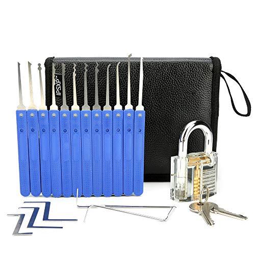 IPSXP Juego de 17 Ganzúas con 1 Cerraduras Transparente de Capacitación en Bolsa de Cuero Portátil, Lock Pick Set de Extracción para Principiantes y Cerrajeros Profesionales