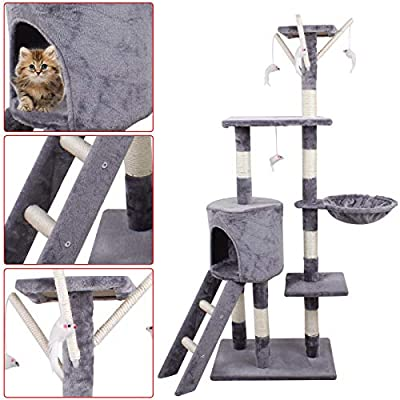 Scratch Posts,Cat Scratcher Towers Tree,Pet Furniture 143cm Tall Scratching Climbing Activity Center Sleeping Bed House for Adult Cats & Kitten 6ft from Homgrace