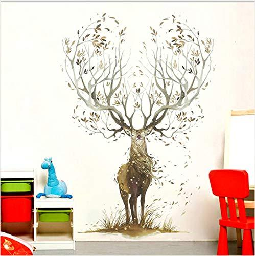 Knncch Elch Wandaufkleber Wohnzimmer Schlafzimmer Tapete Poster Kunst Große Baum Elch Horn Gras Wand Grafik Dekoration Aufkleber