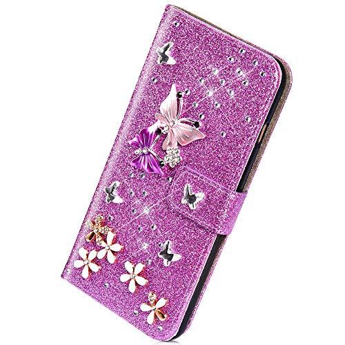 Herbests Kompatibel mit Samsung Galaxy S10e Handyhülle Brieftasche Hülle Schmetterling Blumen Muster Bunt Glitzer Bling Glänzend Strass Diamant Leder Schutzhülle Flip Case Handytasche,Lila
