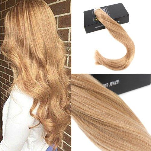 Sunny 20pcs/50g pelle estensioni trama dei capelli biondo caramello #27 serico 100% reale capelli umani remy tape in extensions 16