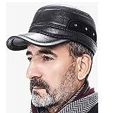 SQL Winter Schiebermütze mit Ohrenklappen   Flatcap   Männer Einstellbar Schirmmütze – aus PU im Gitter Design – mit ausklappbarem Ohrenschutz