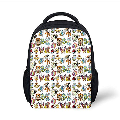 Kids School Backpack Nursery,Collection Cartoon Animals Adorable Funny Toy Figures Play Time Childhood Theme,Multicolor Plain Bookbag Travel Daypack -