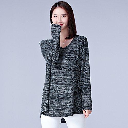 Aswinfon Femme Tee Shirt Manche Longue Casual Grande Taille Long Col V Tunique Top Haut Blouse Gris