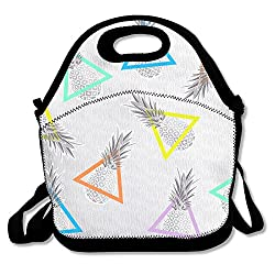 Purple Phantom Pineapple Background Design Interesting Outdoor Lunch Bag Lunch Box Thermal Insulated Tote Cooler Lunch Pouch Gift For Women Men Kids Girls
