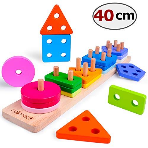 Rolimate Steckplatte Holz Holzpuzzles Sortierspiel Holzsteckspiel für Kinder 1 2 3 Jahre 16-teilig Farben-und Formenwürfel, Sortier Stapel Steckspielzeug Montessori Sensorisches Spielzeug (38.5*7.5cm)