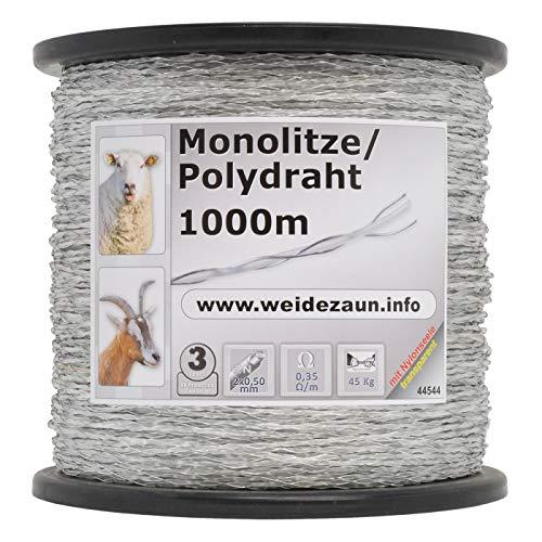 1000m Monolitze Polydraht transparent für Weidezaun Litze Elektrozaun - besonders geeignet für lange und schwierige Einzäunungen - für Schaf Rind und Ziege