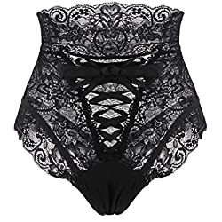 Sunenjoy Strings Femme Grande Taille, Strings Dentelle Tangas Transparent sous-Culotte en Dentelle Nue Bandage Culottes Shorties Pantalon Slip sans Couture (40, Noir)