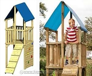 """Spielturm mit Klettersteg und Kletterwand, Modell """"FIPS"""" 110x242x313cm Spielhaus System aus Holz, Kletterturm - Kinderspielgeräte für Garten, Spielgeräte für Kinder, Spielturm, Spieltürme"""