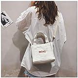 Fashion Girls One-Shoulder Mini Canvas Handbag Korean Style Crossbody Bag White (Weiß)