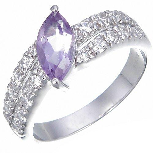 Vir Jewels, Anillo De Mujer 925 Plata Con Púrpura