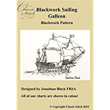 Blackwork Sailing Galleon Blackwork Pattern