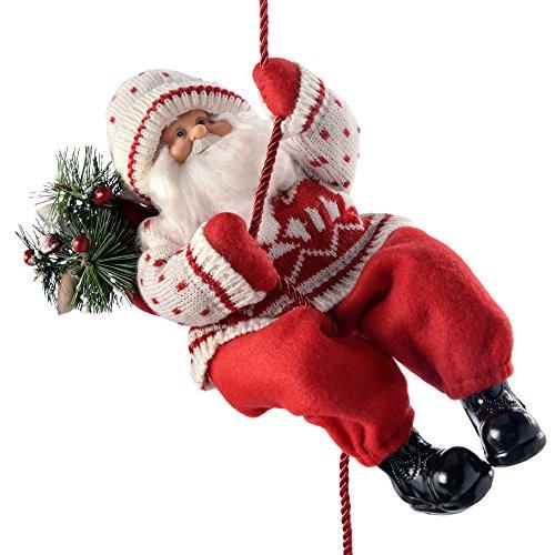WeRChristmas Weihnachtsdekoration Strick Seil Klettern Santa in EIN Outfit, 32cm-rot/weiß