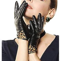 Moda Mujer Leopardo Piel Arco Outdoor De Oveja Leopardo Guantes De Cuero A Prueba De Agua Mitones (Color : L, Size : One Size)