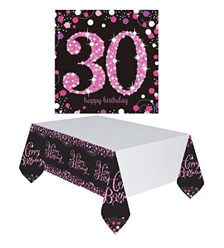 Feste Feiern Tischdekoration 30. Geburtstag | 17 Teile Deko-Set Tischdecke Servietten Pink Schwarz Lila Party Set Happy Birthday 30