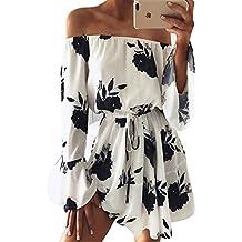 Femmes Été Élastiquée Kilt Robe avec Ceinture Fashion Bohême Plage Imprimée Robe Sexy Bustier Manches Longues Taille Mini Robes de Soirée Party