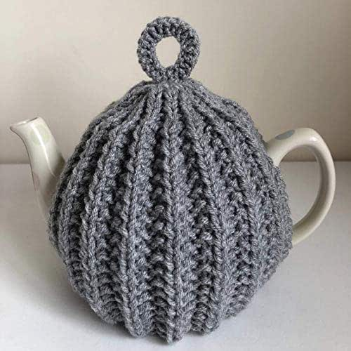 Medium Knitted Light Grey Tea Cosy for a 4 to 6 cup teapot