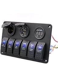 T Tocas(TM) 12V Chargeur Adapteur Prise allume-cigare+ Voltmètre numérique +Double USB Prise avec 6 interrupteurs à bascule panneau noir pour voiture bateau RV SUV