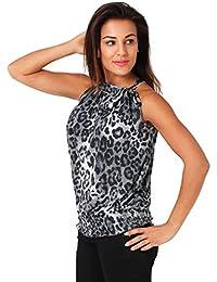 Top de Mujer con Cuello Halter, Animal Print, Lazo en el Cuello y Cintura Elástica