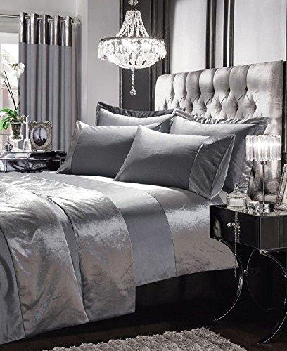 Seide Doppelbett (Luxuriöse Gran Reno Tagesdecke Set Kunstseide Polyester mit Samt Panel Überwurf mit 2kissenrollen perfekt für Doppelbett silber)