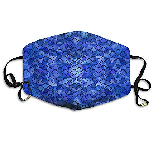 vintage cap Face Masks with Design, Glitter Blue Mermaid Scales Unisex Comfy Reusable Face Mouth Mask Dustproof Cover Breath Outdoor Warm Windproof Mask Outwear
