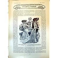 Stampa Antica della Contessa Indossata Abito Dudley Dublino 1903 di Toilette di Riviera