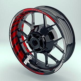 Felgenrandaufkleber Motorrad Komplett-Set (17 Zoll) - Felgenaufkleber MotoGP Rot (Rot - glänzend)