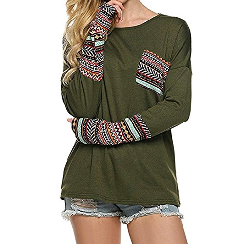 OVERDOSE Mokingtop Damen Floral Splice Printing Rundhals Pullover Bluse Tops T-Shirt (S, C-A-Army Green) -