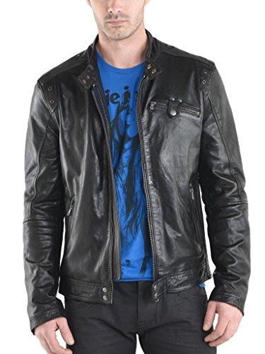 Herren Leder Jacke Biker Motorrad Mantel Slim Fit Jacken, auk058 Gr. XX-Large, schwarz (Herren Leder-junction-jacke)
