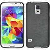 PhoneNatic Case für Samsung Galaxy S5 mini Hülle Silikon silber brushed Cover Galaxy S5 mini Tasche Case