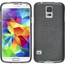 Funda de silicona para Samsung Galaxy S5 mini - brushed plata - Cover PhoneNatic Cubierta