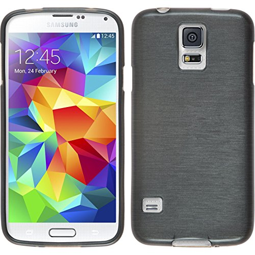 PhoneNatic Case für Samsung Galaxy S5 Mini Hülle Silikon Silber Brushed Cover Galaxy S5 Mini Tasche Case (Usb Galaxy Cover Anschluss S5)
