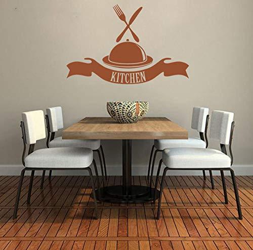 rylryl Küche Buffet Western Food Messer Gabel Vinyl Wandaufkleber Aufkleber Cafe Esszimmer Muster 57x87cm -