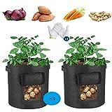 sokey Sacco per Piante, Sacchetto per Patate, Grow Planter Bags, vasi per Piante da Giardino, Ventilazione Naturale per la Coltivazione di Verdure e Piante di Patate Sane - 2 Pezzi