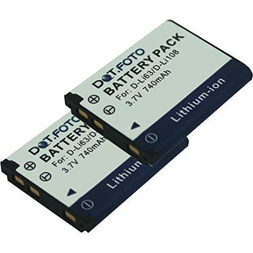 2 x Pentax D-LI63, D-LI108 PREMIUM Dot.Foto Batería de Reemplazo - 3.7V 740mAh - Garantía de 2 años [Vea compatibilidad en la descripción]