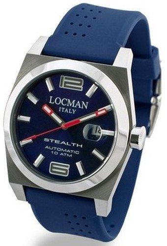 Locman Stealth / orologio uomo / quadrante blu / cassa acciaio e titanio / cinturino gomma blu