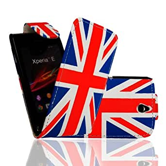 MobileExtraLtd® For Sony Xperia E C1504/c1505 Union Jack England Flag Printed PU Leather Card holder Magnetic Top Flip Case Cover + Stylus