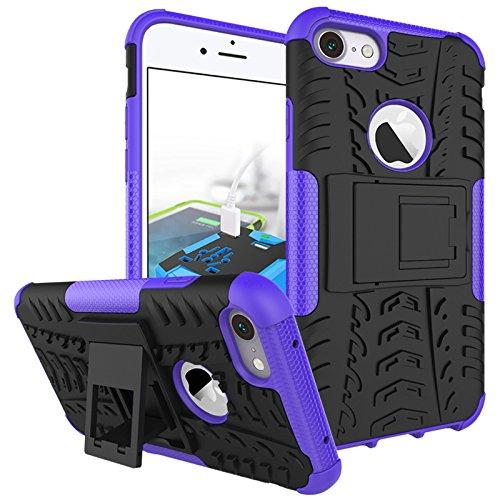 BCIT iPhone 7 Cover - Alta qualità Doppio Strato ibrido Cellulari Case Custodia protettivo Per iPhone 7 - Blu Porpora