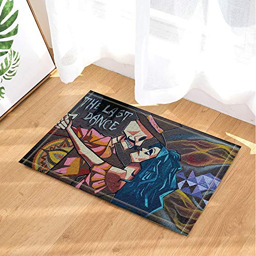 auf Wand Kunst Dekor Mädchen und Skull Dancing bei Halloween Dekor Bad Teppiche Rutschfeste Fußmatte Boden Eingang Indoor Haustür Matte Kids Badematte 60X40CM Bad-Accessoires ()