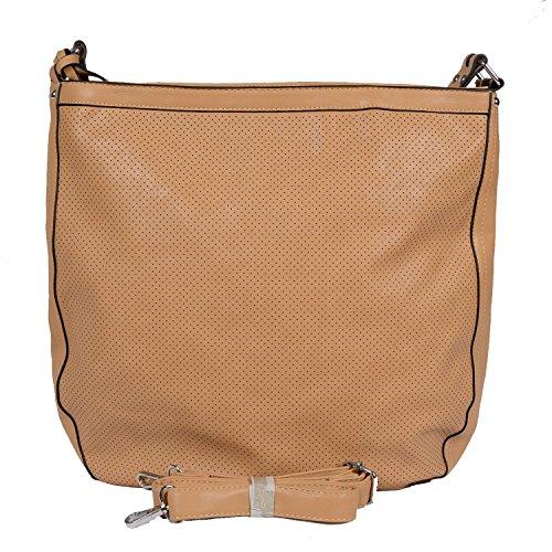Designer Tasche Kunst Leder Aktentasche Handbag Handtasche Henkeltasche Abendtasche Schultertasche City Tote Bag Cognac Braun Beige (Burberry Tasche Braun)