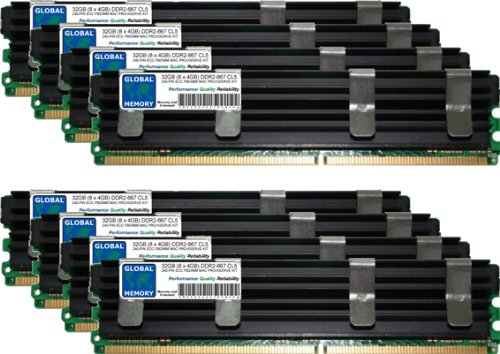 GLOBAL MEMORY 32GB (8x 4GB) DDR2667MHz PC2-5300240-PIN ECC Voll gepuffert (FBDIMM) Arbeitsspeicher RAM Kit für Mac Pro (Original/2006) -