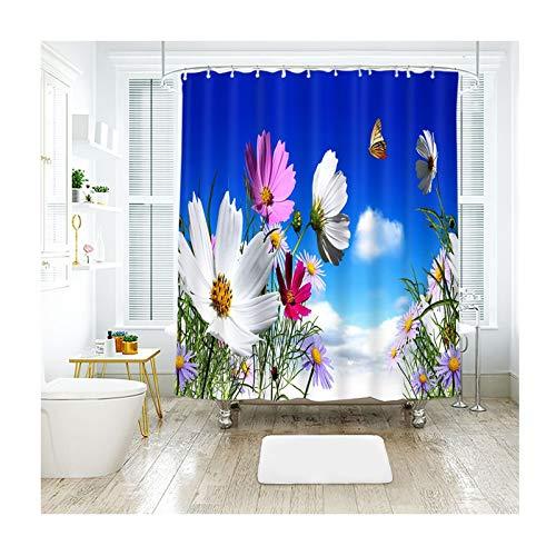 Coniea Bad Duschvorhang Blauer Himmel, Wolken Und Blumen Mehrfarbig Badewannenvorhang Anti-Schimmel 150X180Cm