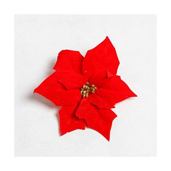 Vosarea Real Touch Franela Artificial Navidad Flores Rojas Poinsettia arbustos Ramos de Navidad árbol Adornos Centro de…