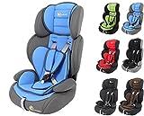 Clamaro 'Guardian 2018' Kinderautositz 9-36 kg Kopfstütze verstellbar mitwachsend, Auto Kindersitz für Kinder von 1-12 Jahre, Gruppe 1/2/3, ECE R44/04, Farbe: Grau Blau