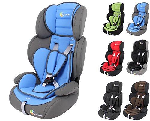 Clamaro 'Guardian 2018' Kinderautositz 9-36 kg verstellbar und mitwachsend, Auto Kindersitz für Kinder von 1-12 Jahre, Gruppe 1/2/3, ECE R44/04, Farbe: Grau Blau