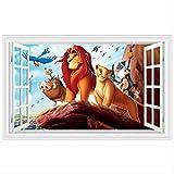 hfwh Adesivi Murali, Cartone Animato Leone Il Re degli Animali Decoro Muro 3D DIY PVC Rimovibile Colorato Murale 60x90cm B303 (in Questo Modo)
