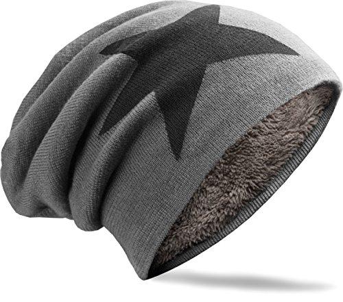 NavyBlu® unisex langes Slouch Beanie Mütze in Feinstrick mit Teddyfleece Innenfutter Stern grau M2